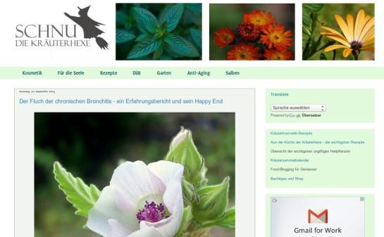 "Blog ""Schnu - die Kräuterhexe"", Screenshot (c) 2014 www.schnu1.com"