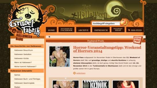 "Blog ""Gruselfabrik"", Screenshot (c) 2014 www.gruselfabrik.de"