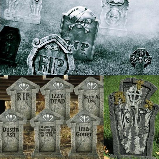 Halloween Dekoration: Grabsteine, (c) 2014 deavita.com (o+li.u.) und www.karneval-megastore.de (re.u.)