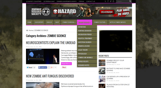 "Site ""Zombie Research Society"", Screenshot (c) 2015 http://zombieresearch.org"