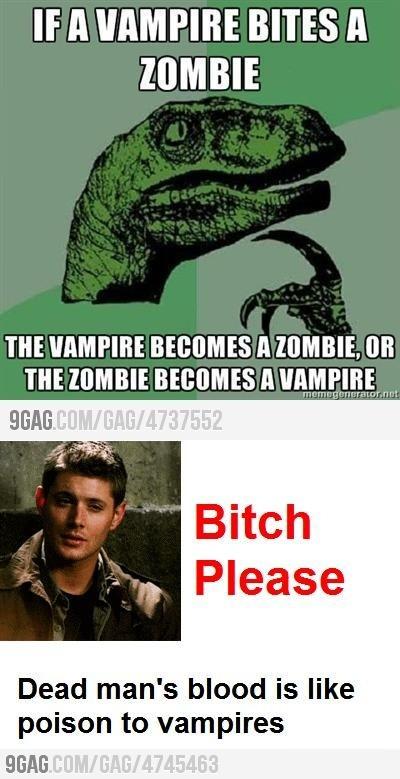 Vampire bites Zombie, (c) http://9gag.com